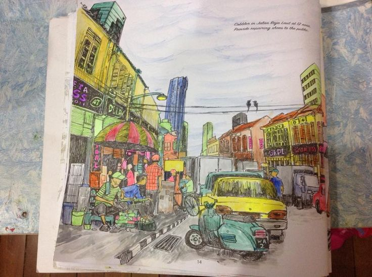 Malaysia Scenery Adult Colouring Book Part 1 TOWNSCAPES Artist ENCIK Zahuri Harun