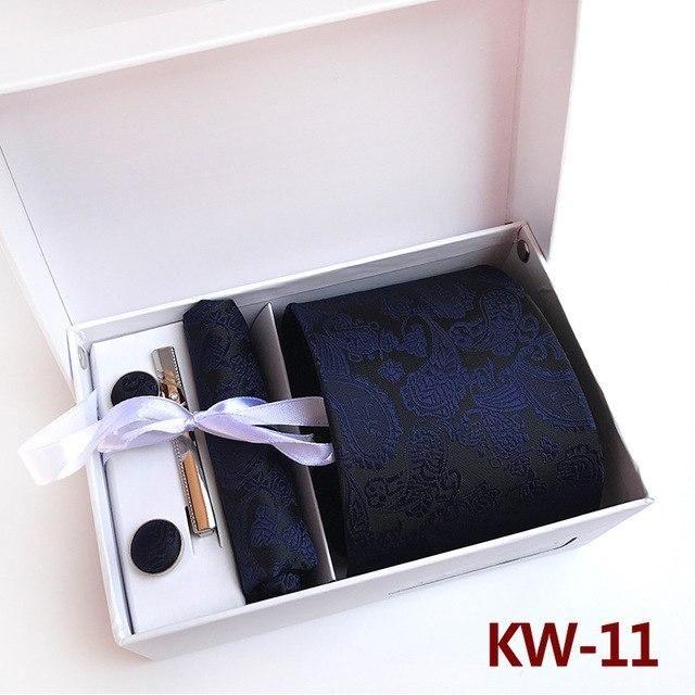 Paisley Floral Mens Tie Set Silk Necktie Pocket Square Cufflinks Wedding Gift