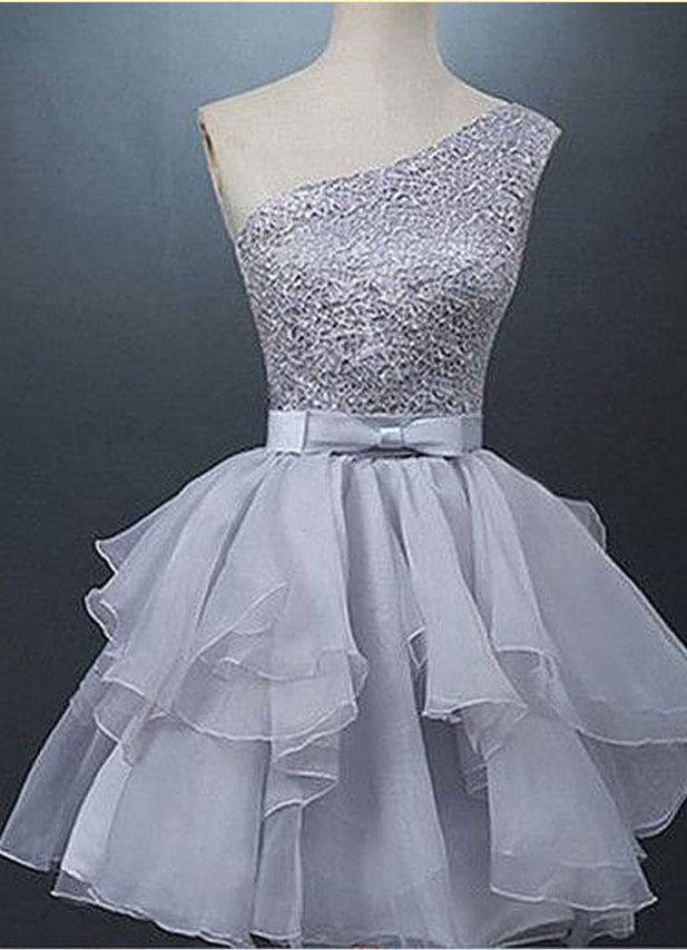 Sleeveless Grey Organza Homecoming Dresses A lines Beadings