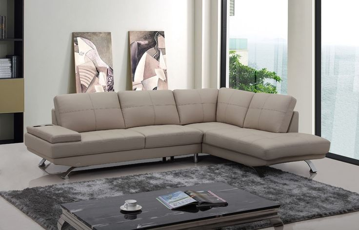 $1482 Divani Casa Knight Modern Beige Leather Sectional Sofa