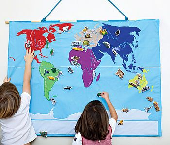 Hanging Map of the World £100. There are 50 embroidered details on the map – the biggest lakes, mountain ranges, mountain tops and longest rivers in each continent – with a key to help learning. #kids #learning  http://www.cruxbaby.co.uk/shop/nursery-kids-room-decor/world-map-wall-hanging/