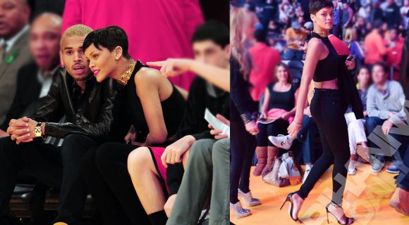 Rihanna and Chris Brown spotted at Knicks vs Lakers game | Celebrities Temple