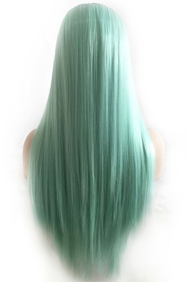 Light Green Ombre Middle Part Long Straight Harajuku Cosplay Wig Mint Green Hair Hair Pale Skin Red Hair Pale Skin