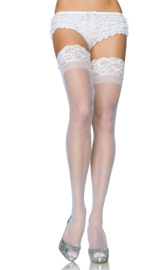 Stay Up Sheer Lycra Thigh High Stockings with Silicone Lace Top for $12.00