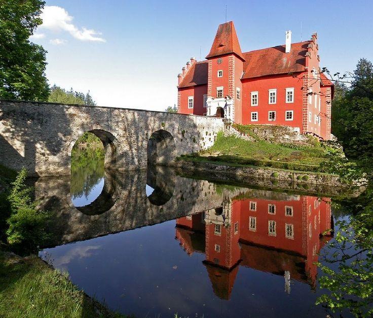 Červená Lhota castle, South Bohemia, Czechia is a picturesque Renaissance building.