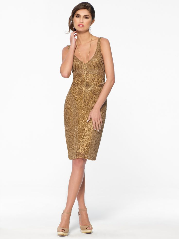 DRESSES | Gold Beaded Gown | Caché fall/winter 2013 limited qty