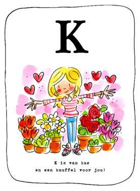 Alfabetkaart, K is van een knuffel- Greetz