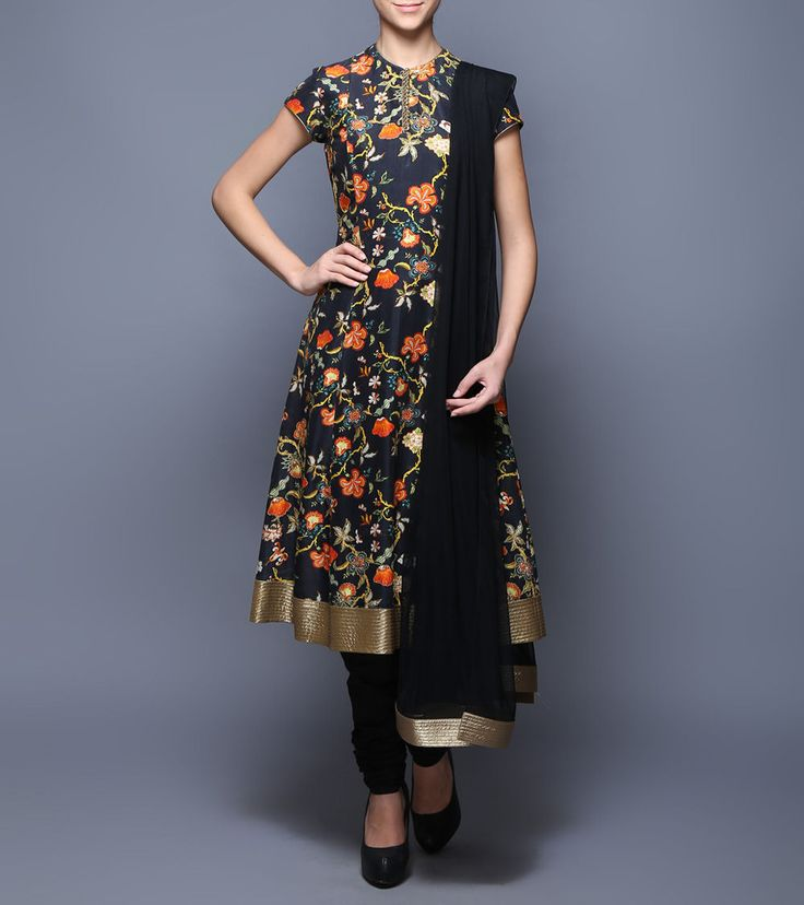 #Black Digitally Printed #Chanderi #Net #Anarkali #Suit from #Balance By  #Rohit #Bal at #Indianroots