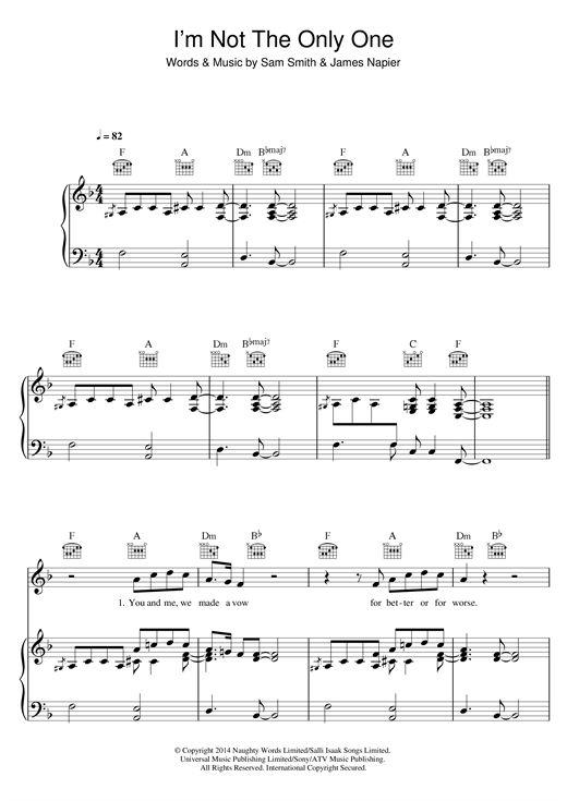 Sam Smith: I'm Not The Only One - Partition Piano Voix Guitare (Mélodie Main Droite) - Plus de 70.000 partitions à imprimer !