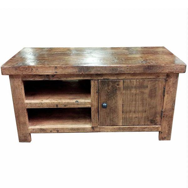 English Beam 1 Door Reclaimed Wood TV Stand
