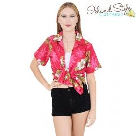 Ladies hawaiian shirt. Pink Hibiscus. Unisex floral party clothing