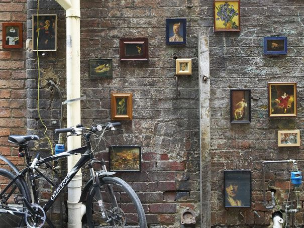outdoor mini art gallery, off Centre Place laneway
