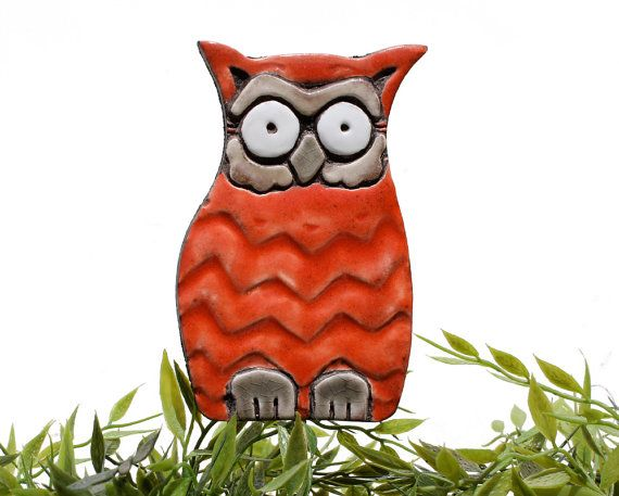 Owl garden art  plant stake  garden decor  owl ornament   by GVEGA, €15.00