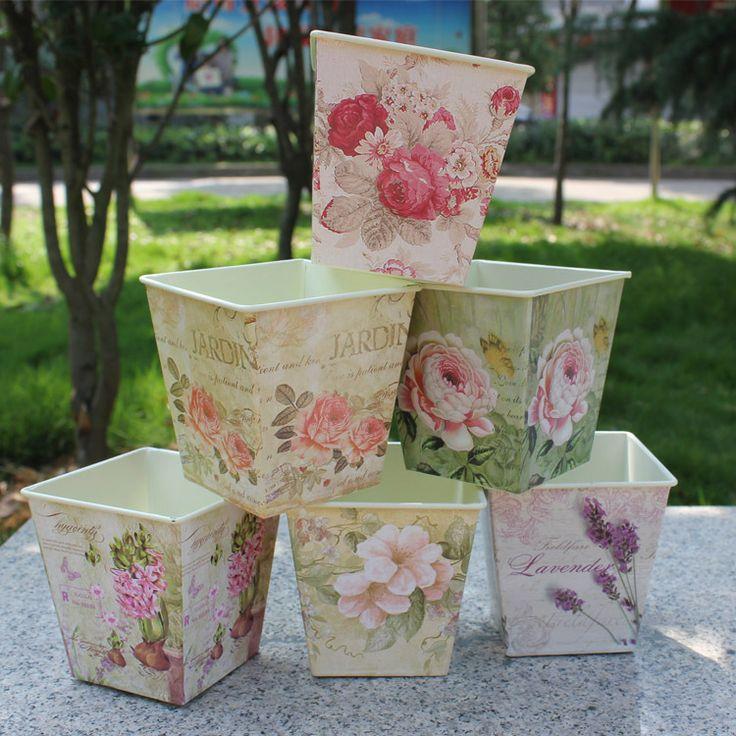 Чистый сад ведро коробка олова Утюг горшки цветок МЕТАЛЛ Античная дизайн Vantage $18.80