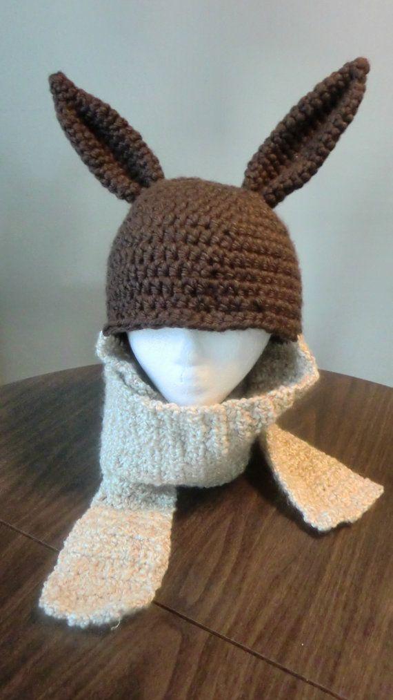 Eevee Inspired Pokemon Crochet Hat Scarf Combo For