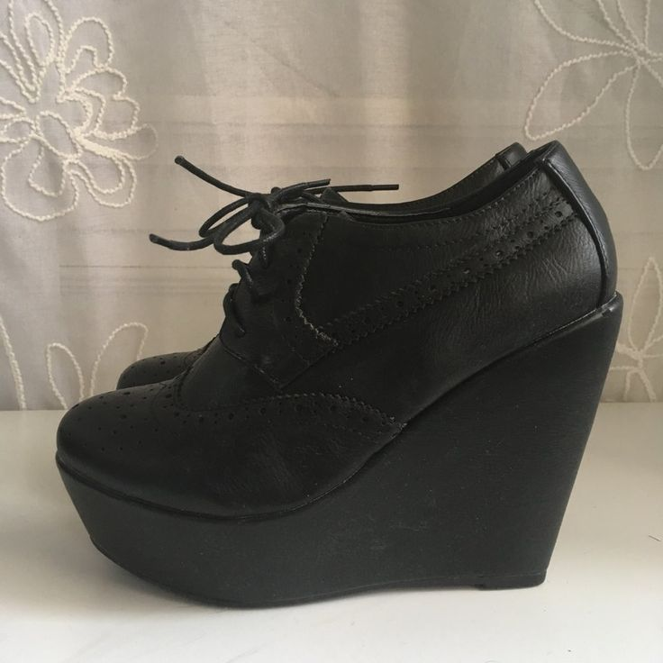 Black Oxford Wedges - Size 6 - Worn once for a Halloween costume. #wedges #shoes #oxfords #schoolgirl #preppy #heels #black