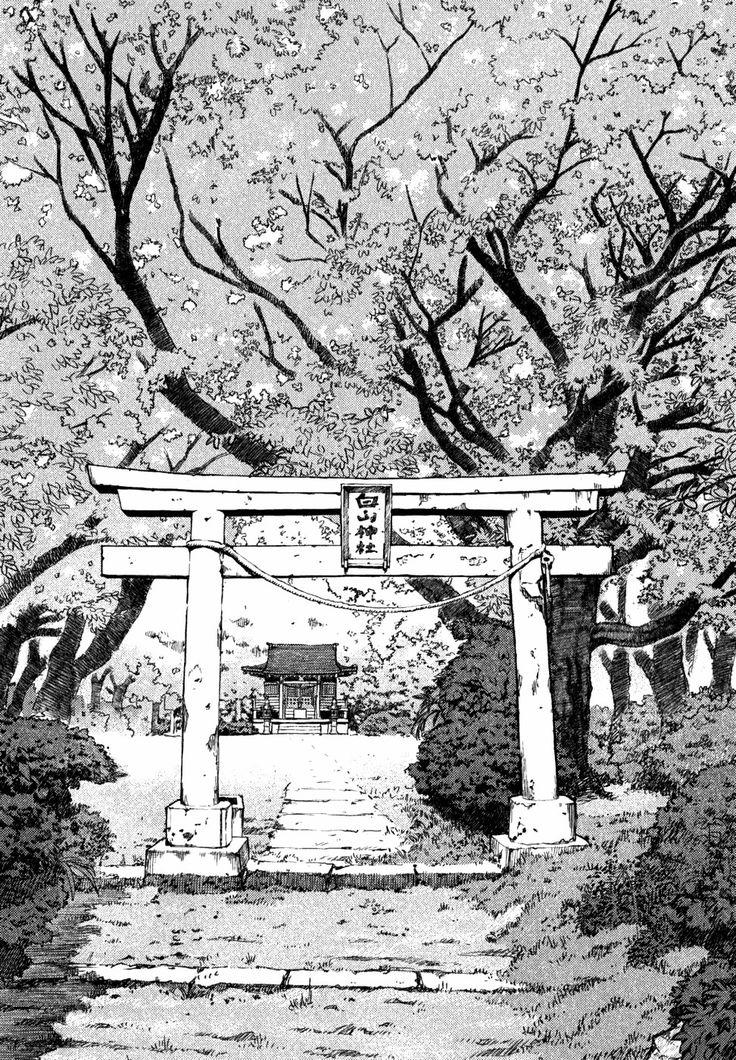 Manga background. Blooming sakura and torii — a traditional Japanese gate