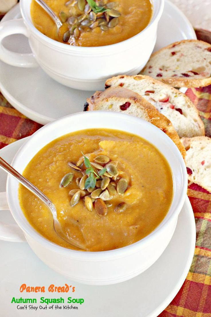 Panera Bread's Autumn Squash Soup | Make with soymilk for vegan