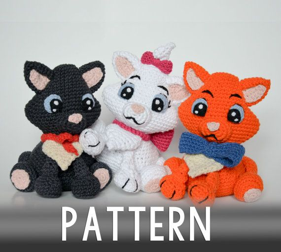 Crochet PATTERN  Three little kittens by Krawka by Krawka on Etsy