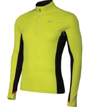 Mizuno Running Men's Breath Thermo 1/2 Zip Top, X-Large, Lime Punch/Black. Variation: Size(X Large). Thermo stretch double knit stretch thermal fabric offers muscular support and enhanced movement. These technological advancements make our sporting equipment and apparel go the extra mile and keep you in tip top playing form no matter the sport or the conditions. Our product development strategy is to create products with features that enhance athlete performance and are unique to...