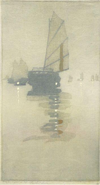 Bertha Lum, Junks in Inland Sea, Woodblock Print Beautiful simplicity...