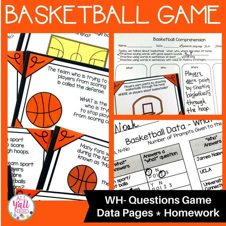 Basketball A Wh Questions Game Wh Questions Games Speech Therapy Activities Elementary Reading