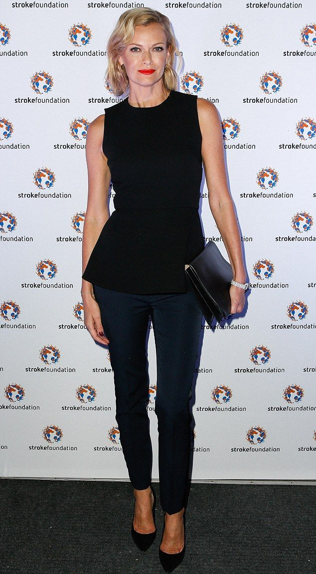 Black on track! Sarah Murdoch looks sleek and chic in all-black ensemble as she steps out for Stroke Foundation charity gala    Mail Online