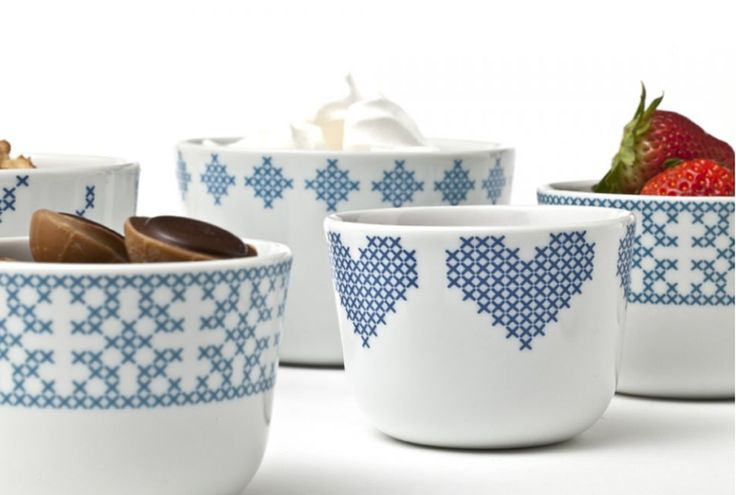 cross stitch style in ceramics - we <3 these kitchenwares