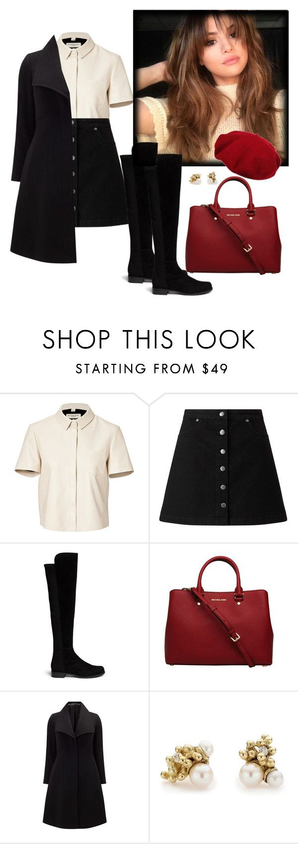 """""""Weekend in Paris (with song in description)"""" by betulkizilirmaak ❤ liked on Polyvore featuring Burberry, Miss Selfridge, Stuart Weitzman, MICHAEL Michael Kors, Laulhere, Studio 8 and Ruth Tomlinson"""