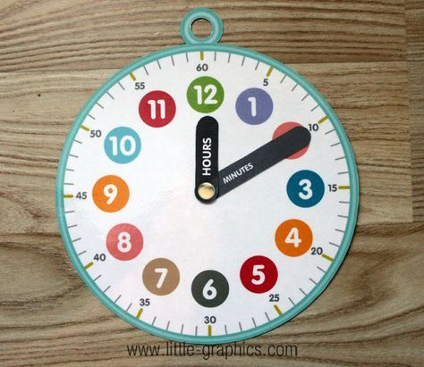 FREE printable clock with hour and minute hand labeled diy kids paper clock