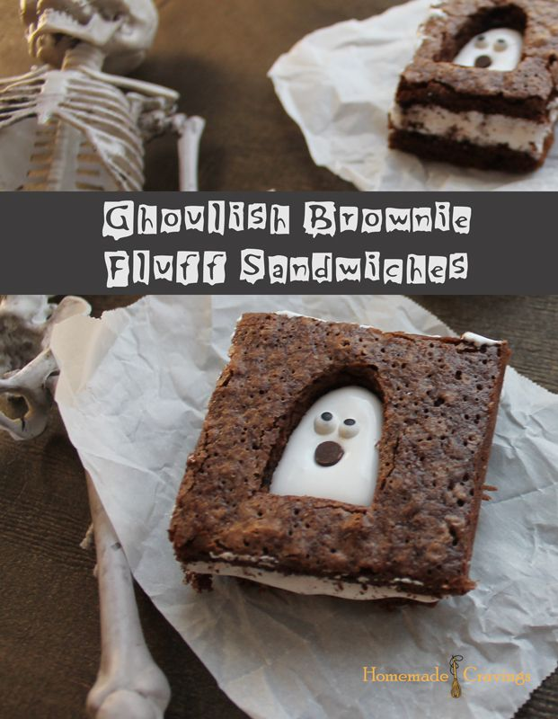 "BROWNIES ""FANTASMAGORICOS"" (Ghoulish Brownie and Fluff Sandwiches) #RecetasHalloween"