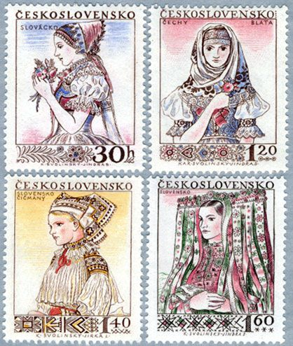 ◇ Czecho-Slovakia Stamps from 1956 :: top left - Slovacko, Czech :: top right…