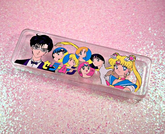 VINTAGE Sailor Moon Pencil Case  Clear by TheVintageRealm on Etsy