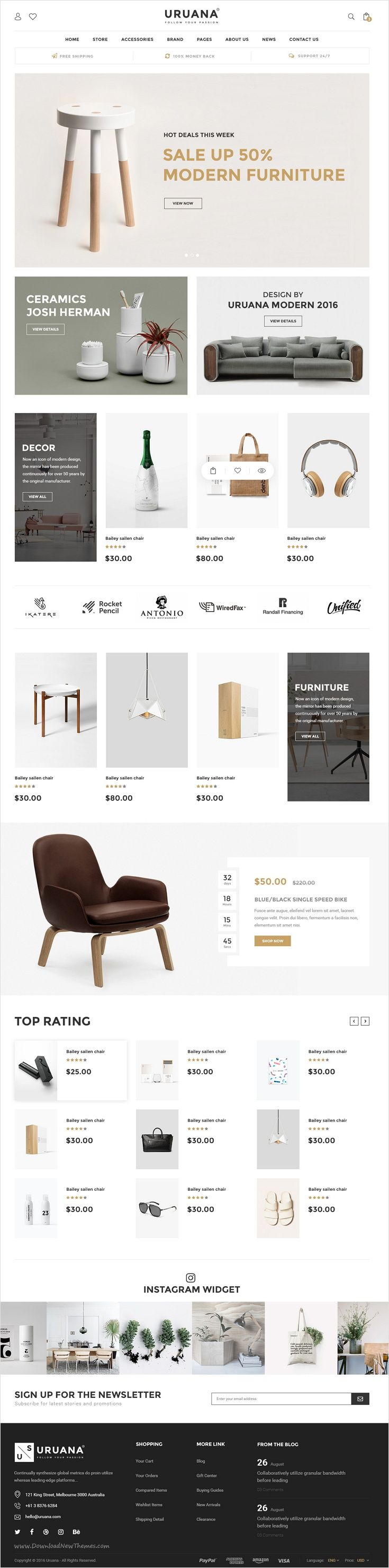 Uruana is uniquly design #PSD #template for stunning #furniture #shop website with 3+ multipurpose homepage layouts and 21 organized PSD pages download now➩ https://themeforest.net/item/uruana-multi-concept-ecommerce-psd-template/17446677?ref=Datasata