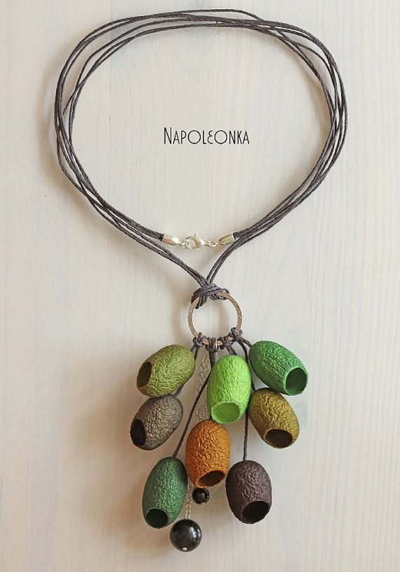 Cocoon necklace Pendant Silk worm cocoon Jewelry от Napoleonka
