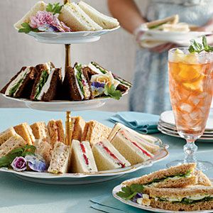 Beautiful Tea Sandwiches - includes: cucumber & strawberry, curried chicken, curried shrimp, egg salad, goat cheese& pecan, and ham salad tea sandwiches