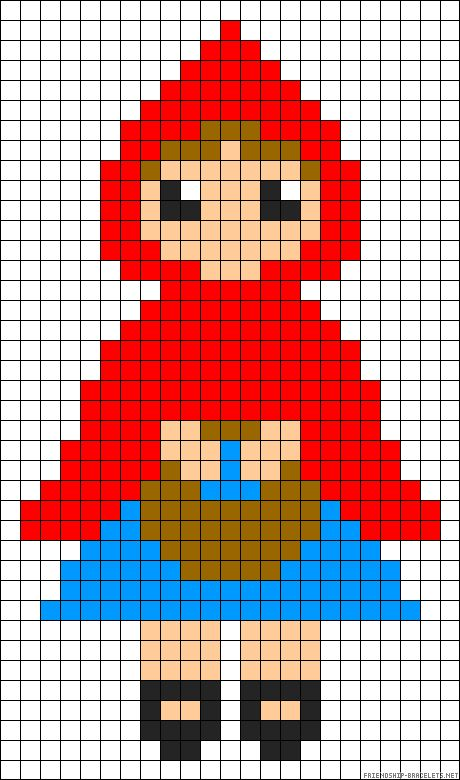 little red riding hood Micro macrame / alpha friendship bracelet pattern / cross stitch chart - can also be used for crochet, knitting, knotting, beading, weaving, pixel art, and other crafting projects.