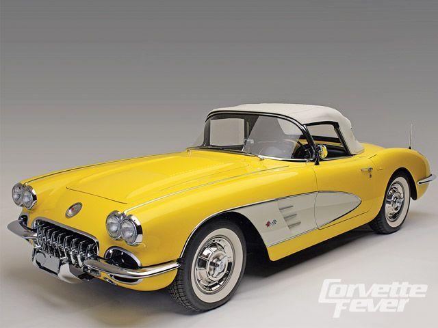 1958 Chevy Corvette Panama Yellow Front View Photo 1