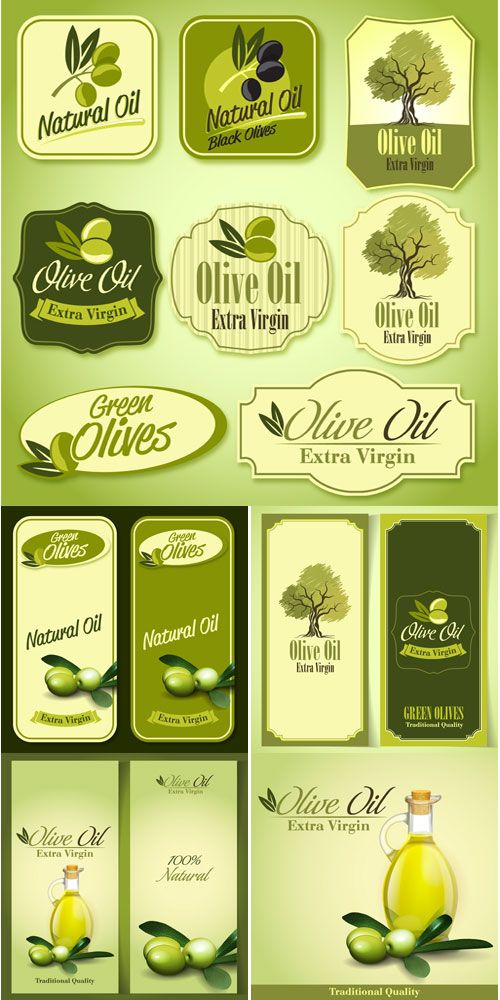 Olives, olive oil, backgrounds and stickers vector