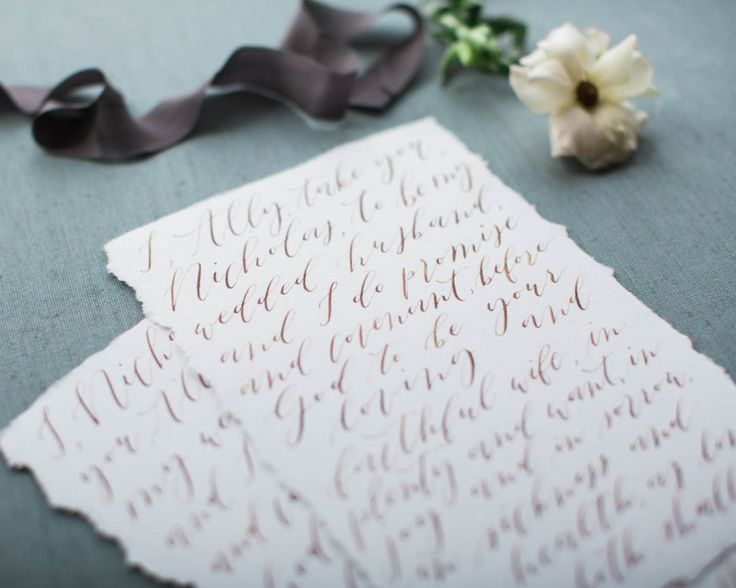 Wedding Vows Gold Calligraphy Organic Calligraphy Minimalist Calligraphy Deckled Edges   Wedding Inspiration: Cape Cod   Cherry Hill Club Styled Shoot in Niagara   Calligraphy by Bon Paper House