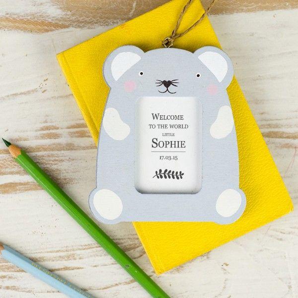 Personalised New Baby Mini Woodland Animal Frame