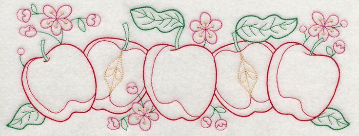Apple Time Border (Vintage) design (J4402) from www.Emblibrary.com
