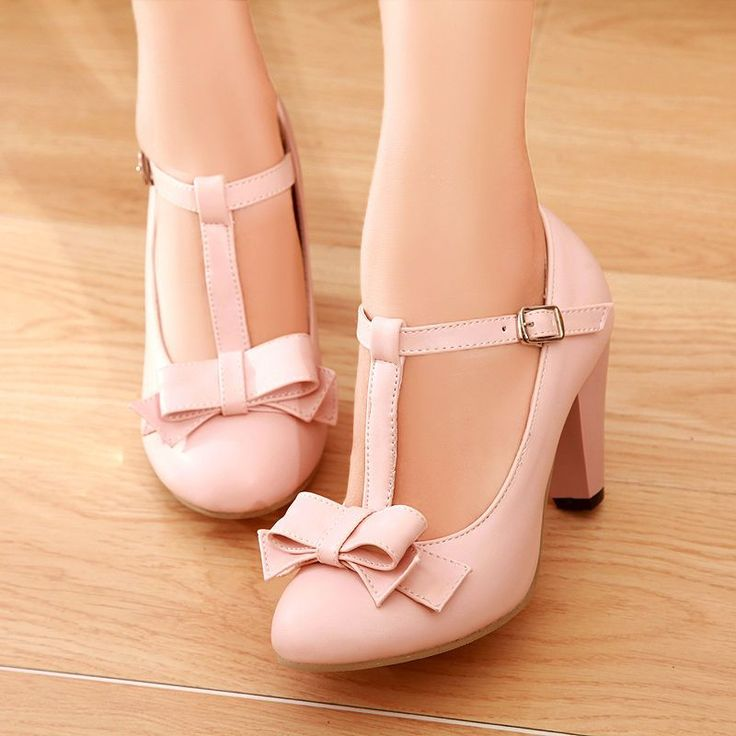Hot Sweet Womens Stylish Bowknot T-Strap Round Toe Block Heel 4Color Plus Size