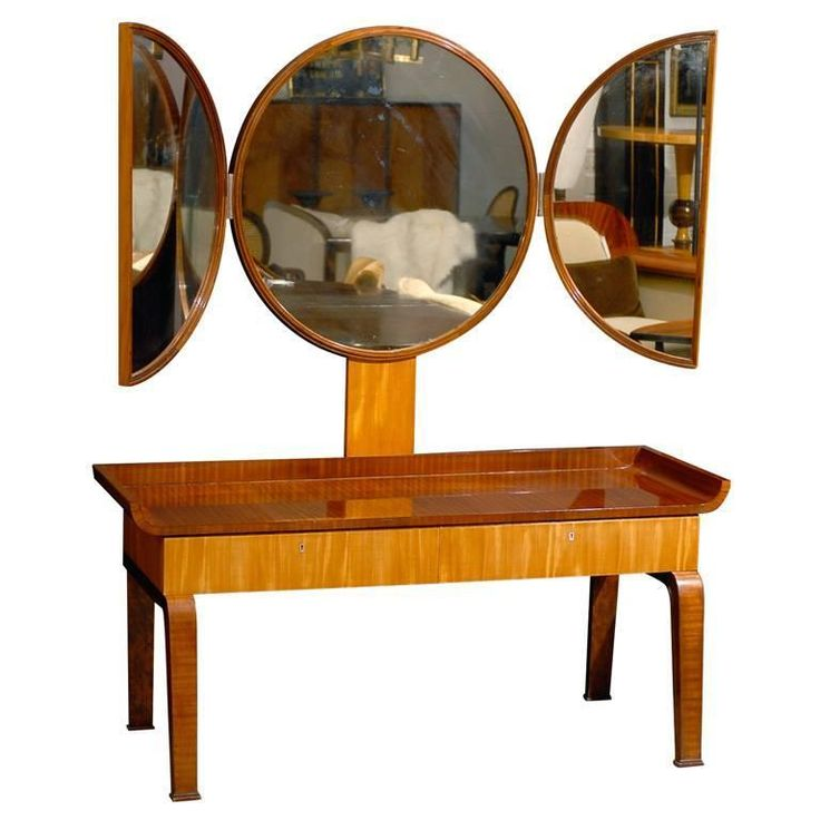 Swedish Art Deco Moderne Dressing Table attributed to Boet | From a unique collection of antique and modern vanities at https://www.1stdibs.com/furniture/tables/vanities/
