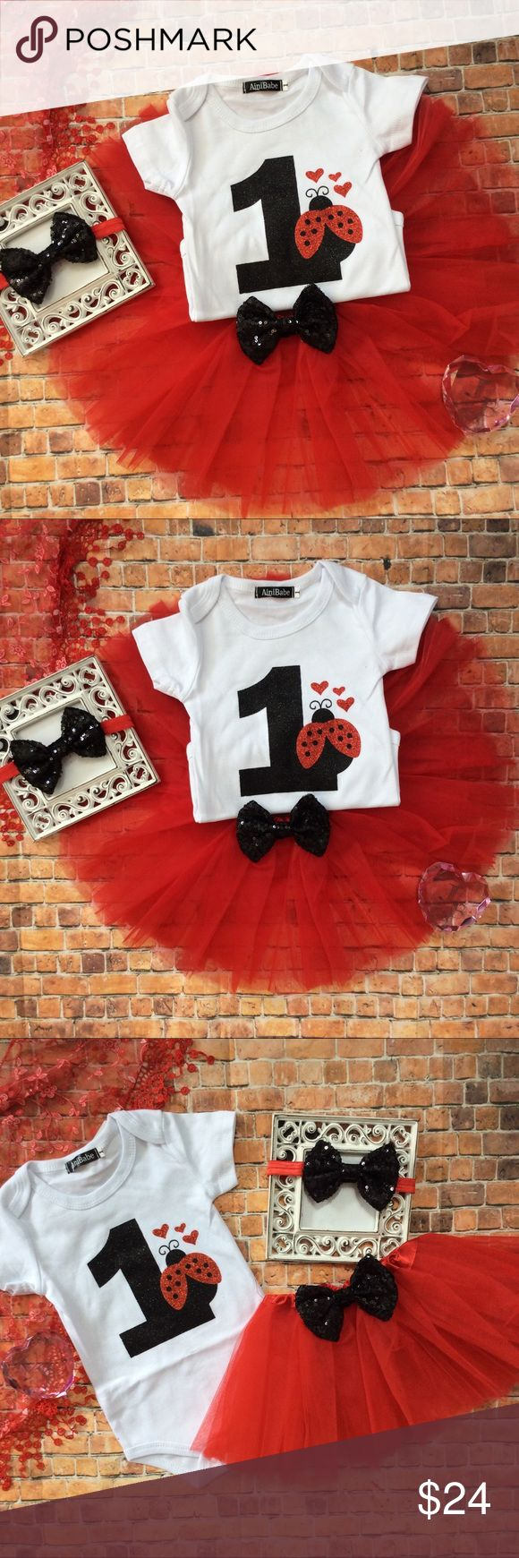 Boutique Baby Girl Lady Bug 1st Birthday Outfit Vivid and colorful Baby Girl 1st Birthday Red & Black Ladybug themed 1st Birthday Tutu 3pc Outfit. Includes white short sleeve onesie with Glitzy black and red 1 & ladybug to front. Full red Tutu skirt with black sequin bow to front. Includes a red and black sequin headband. Super cute for cake smash photos and birthday party!! Dresses