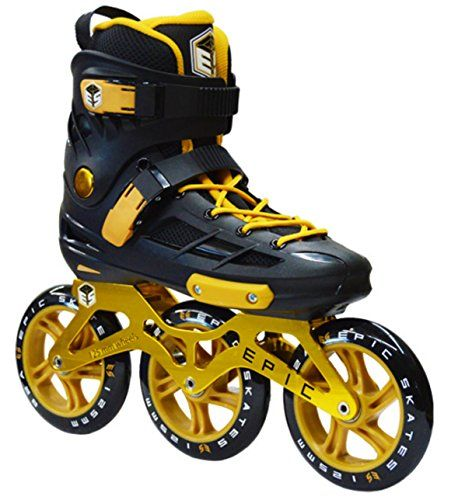Epic Engage Black  Gold Indoor  Outdoor 125mm 3Wheel Inline Speed Skates Mens 9 -- See this great product. (Amazon affiliate link)
