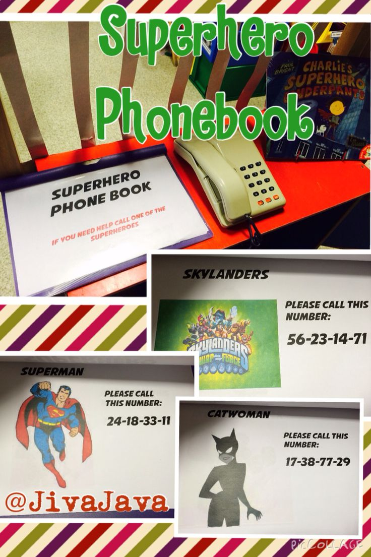 Superhero Phonebook (abcDoes idea!) - focus was on 2-digit numbers so children had to read the numbers and use the phone to dial the superhero of choice