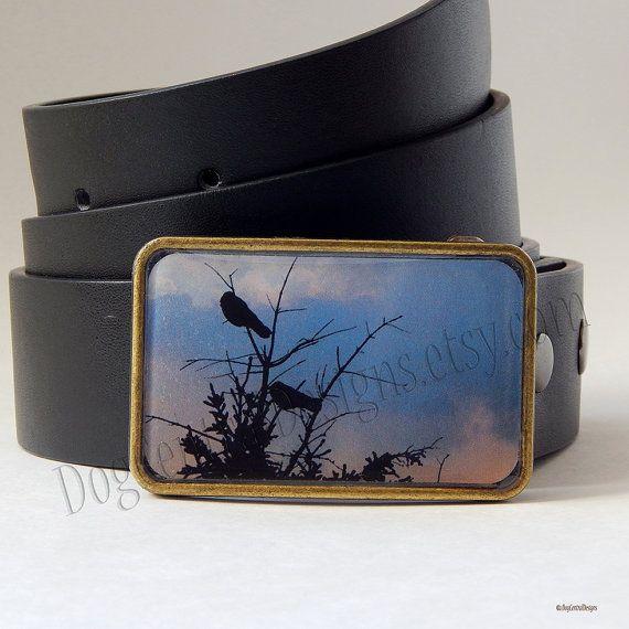 Belt Buckle Birds in Tree Dusk Sky Belt Buckle Womens Belts