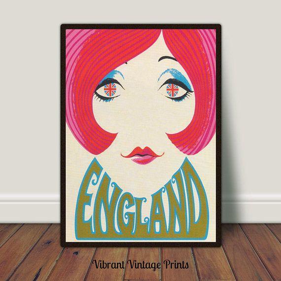 England Vintage Travel Poster Groovy Girl ModUnion Jack