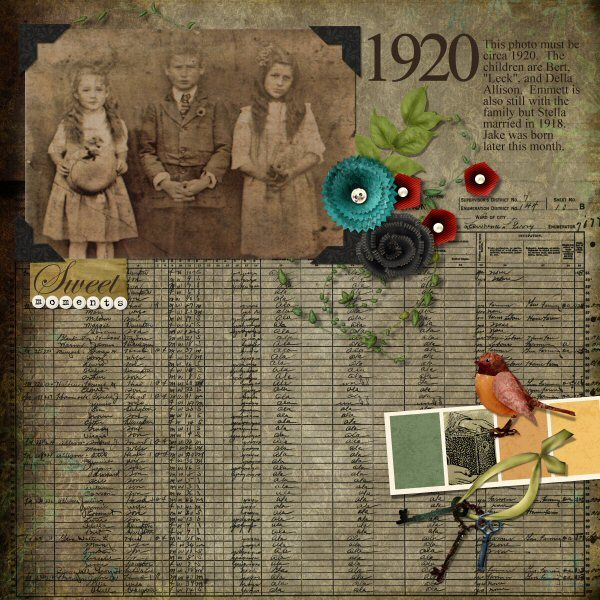 1920...great use of genealogical  elements (like a reprint of the 1920 Census page) in your scrapbook layout